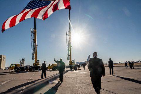 President Donald Trump departs Goodyear, Arizona. (White House)