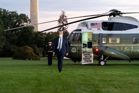 President Donald Trump returns to the White House from Walter Reed National Military Medical Center. (White House)