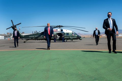 President Donald Trump walks across the tarmac in Prescott, Arizona. (White House)