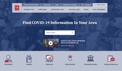 Tennessee Department of Health's New COVID-19 Website