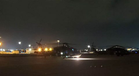 A UH-60L Blackhawk helicopter from the Tennessee National Guard's Detachment 1, Company C, 1-171st Aviation Regiment prepares to take-off from Joint Base McGhee-Tyson in Knoxville at approximately 2:15am, October 28th. (Submitted photo)