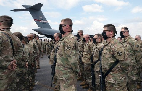 Soldiers with Knoxville's 278th Armored Cavalry Regiment depart for Washington, D.C. on June 4, to provide additional support to the Washington D.C. National Guard. (Sgt. Sarah Kirby)
