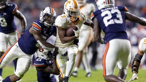 Tennessee Vols running back Eric Gray rushed for 173 yards on 22 attempts in loss to Auburn, Saturday. (UT Athletics)