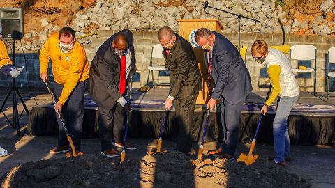 Nashville Predators, Austin Peay State University, City of Clarksville and Montgomery County break ground on the Montgomery County Multi-Purpose Event Center. (APSU Sports Information)