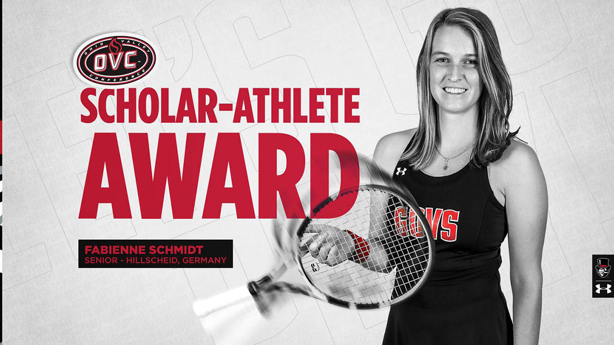 Austin Peay State University Women's Tennis team's Fabienne Schmidt earns OVC Scholar-Athlete Award. (APSU Sports Information)