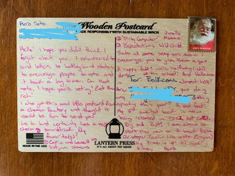 Austin Peay State University student Victoria Bolkcom shared this wooden postcard she recently received from Hero Seto, a graduate student in Oregon. (APSU)