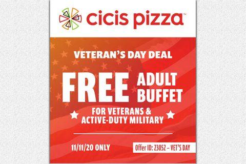 Cicis Pizza Veteran's Day Deal