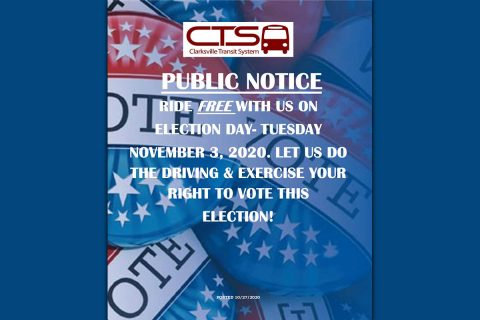 Clarksville Transit System offers free bus rides on Election Day, Tuesday, November 3rd, 2020.