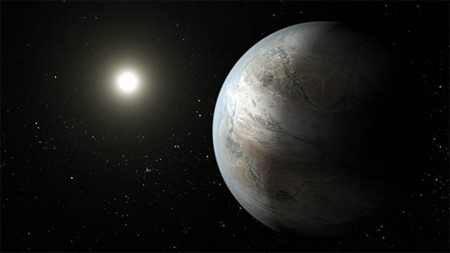 This illustration depicts one possible appearance of the planet Kepler-452b, the first near-Earth-size world to be found in the habitable zone of a star similar to our Sun. (NASA Ames/JPL-Caltech/T. Pyle)
