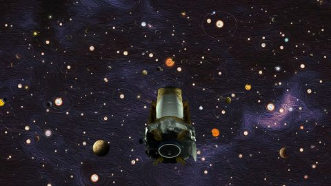 An illustration representing the legacy of NASA's Kepler space telescope. After nine years in deep space collecting data that revealed our night sky to be filled with billions of hidden planets – more planets even than stars – NASA's Kepler space telescope ran out of fuel needed for further science operations in 2018. (NASA/Ames Research Center/W. Stenzel/D. Rutter)