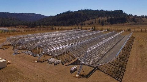 This aerial view shows the Canadian Hydrogen Intensity Mapping Experiment (CHIME), a radio telescope located at Dominion Radio Astrophysical Observatory in British Columbia. (Richard Shaw/UBC/CHIME Collaboration)