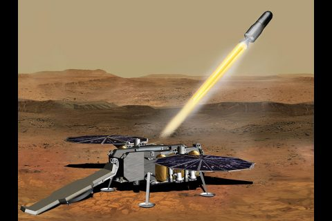 This illustration shows a concept of how the NASA Mars Ascent Vehicle, carrying tubes containing rock and soil samples, could be launched from the surface of Mars in one step of the Mars sample return mission. (NASA/JPL-Caltech)