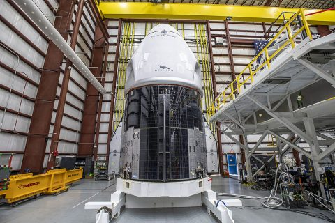The SpaceX Crew Dragon spacecraft for NASA's SpaceX Crew-1 mission arrived at Kennedy Space Center's Launch Complex 39A on Thursday, Nov. 5, after making the trek from its processing facility at nearby Cape Canaveral Air Force Station in Florida. (SpaceX)