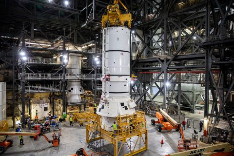 The solid rocket boosters are the first components of the SLS rocket to be stacked and will help support the remaining rocket pieces and the Orion spacecraft. (NASA/Kim Shiflett)