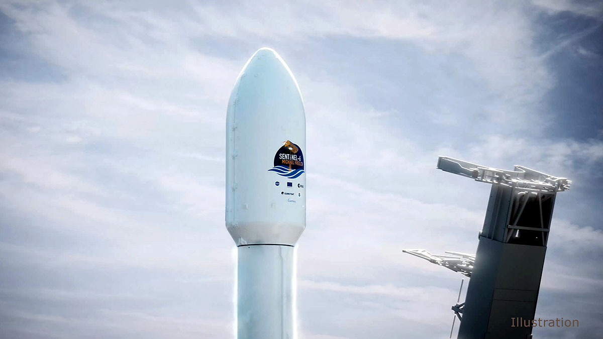 This illustration shows the SpaceX Falcon 9 rocket's nose cone, with the Sentinel-6 Michael Freilich satellite inside, shortly before launch. (SpaceX)