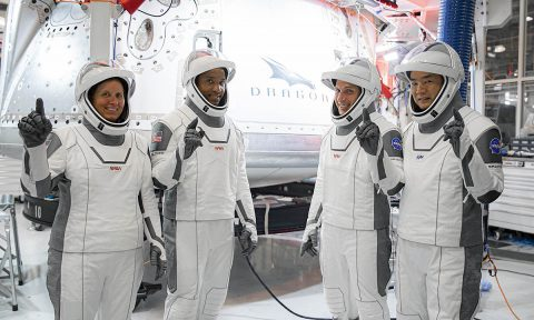 NASA's SpaceX Crew-1 astronauts participate in crew equipment interface testing at SpaceX headquarters in Hawthorne, California, on Sept. 24, 2020. From left are mission specialist Shannon Walker, pilot Victor Glover, and Crew Dragon commander Michael Hopkins, all NASA astronauts, and mission specialist Soichi Noguchi, Japan Aerospace Exploration Agency (JAXA) astronaut. (SpaceX)