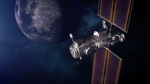 Artist's concept of the Gateway Power and Propulsion Element, or PPE, and Habitation and Logistics Outpost, or HALO, in orbit around the Moon. The gold box on the right side of the image depicts the HERMES payload. The ERSA payload is the silver box just below it. (NASA)