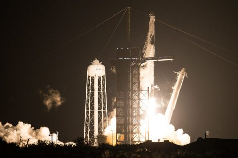 A SpaceX Falcon 9 rocket carrying the company's Crew Dragon spacecraft is launched on NASA's SpaceX Crew-1 mission to the International Space Station with NASA astronauts Mike Hopkins, Victor Glover, Shannon Walker, and Japan Aerospace Exploration Agency astronaut Soichi Noguchi onboard, Sunday, Nov. 15, 2020, at NASA's Kennedy Space Center in Florida. (NASA/Joel Kowsky)