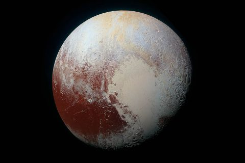 Enhanced color global view of Pluto, taken when NASA's New Horizons spacecraft was 280,000 miles (450,000 kilometers) away. (NASA/JHUAPL/SwRI)