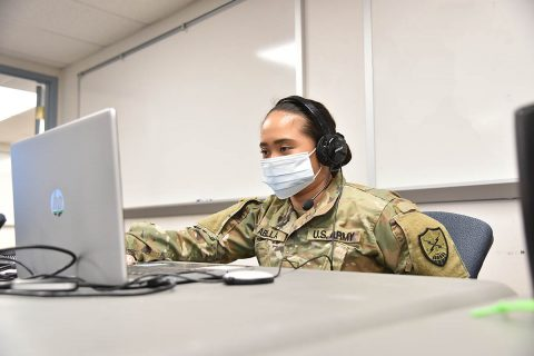 2nd Lt. Karina Abella assigned to the 175th CPT participates in the annual National Guard cybersecurity exercise Cyber Shield 2020, September 22nd. (Staff Sgt. Timothy Cordeiro, Tennessee National Guard Public Affairs Office)