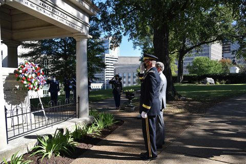 The Tennessee National Guard celebrated the life of President James K. Polk in a wreath laying ceremony at the Tennessee State Capitol on Nov. 2, in honor of Polk's 225th birthday. (Staff Sgt. Timothy Cordeiro, Tennessee National Guard Public Affairs Office)