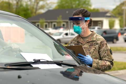 Sgt. Leann Roggensack, a field artilleryman with the 278th Armored Cavalry Regiment, works as a registered nurse in her civilian occupation. She is one of many Tennessee Guardsmen who have volunteered to help test Tennessee residents for COVID-19. (Sgt. Sarah Kirby).