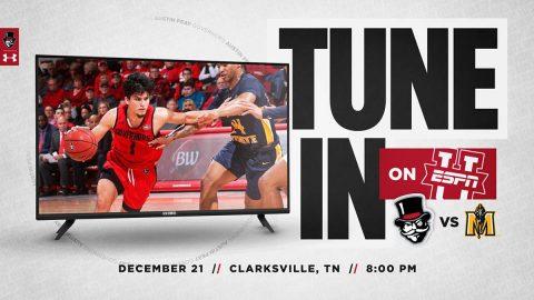 Austin Peay State University Men's Basketball to play Murry State December 21st on ESPMU. (APSU Sports Information)