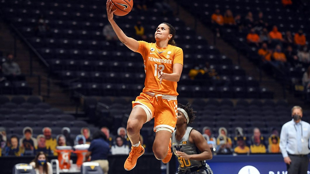 Tennessee Lady Vols Basketball junior Rae Burrell scored 18 points in loss to West Virginia Mountaineers Sunday afternoon. (UT Athletics)