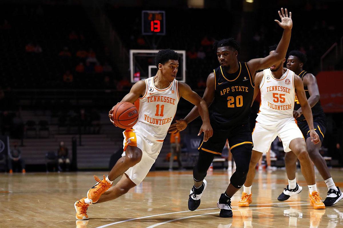 Tennessee Men's Basketball freshman Jaden Springer scored 12 points in home win over Appalachian State. (UT Athletics)