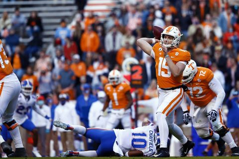 Tennessee Vols Football freshman quarterback Harrison Bailey threw his first touchdown pass of his career in loss to Florida, Saturday. (UT Athletics)