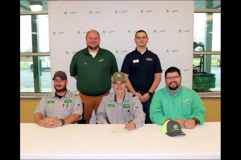 (L-R: Front Row) Huston Ag Technician Jacob Van Pelt, Apprentice Landen Humphries and Hutson Service Manager Brad Wagoner. (Second Row) Hutson Parts Manager and Store Lead Shon Stewart and  HCC Diesel Technology Program Coordinator Jacob Dougherty.