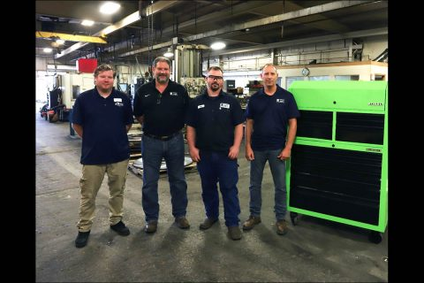 (L to R) Hopkinsville Community College Computerized Manufacturing and Machining Instructor Cory Murray, Kentucky Machine CEO Steve Allen, Apprentice Ryne Hancock and Kentucky Machine Operations Manager Darrin Boren.