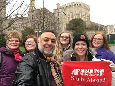 Austin Peay State University's Dr. Wadia on a pre-COVID trip to England. (APSU)