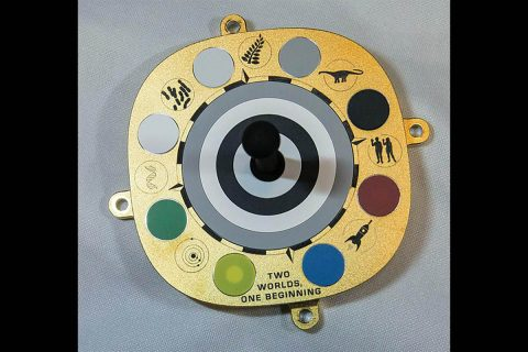 Scientists use the color swatches on the primary calibration target for Mastcam-Z - a pair of zoomable cameras aboard NASA's Perseverance Mars rover - to fine-tune the cameras' settings. Symbols and mottos relevant to the mission are included around the target's perimeter. (NASA/JPL-Caltech/ASU/MSSS/U of Copenhagen)