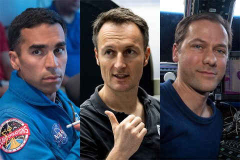 The members of the SpaceX Crew-3 mission to the International Space Station. Pictured from left are NASA astronauts Raja Chari and Tom Marshburn, and ESA (European Space Agency) astronaut Matthias Maurer. (NASA/ESA)