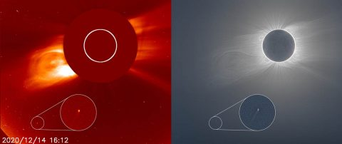 (left) The LASCO C2 camera on the ESA/NASA SOHO observatory shows comet C/2020 X3 (SOHO) in the bottom left-hand corner. (right) A composite image of the total solar eclipse on Dec. 14, 2020, based on 65 frames taken by Andreas Möller (Arbeitskreis Meteore e.V.) in Piedras del Aguila, Argentina, and processed by Jay Pasachoff and Roman Vanur. (ESA/NASA/SOHO/Andreas Möller (Arbeitskreis Meteore e.V.)/processed by Jay Pasachoff and Roman Vanur/Joy Ng. Eclipse image used with permission)