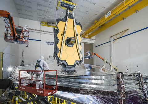 NASA's James Webb Space Telescope's final tests are underway with the successful completion of its last sunshield deployment test, which occurred at Northrop Grumman in Redondo Beach, California. (NASA/Chris Gunn)