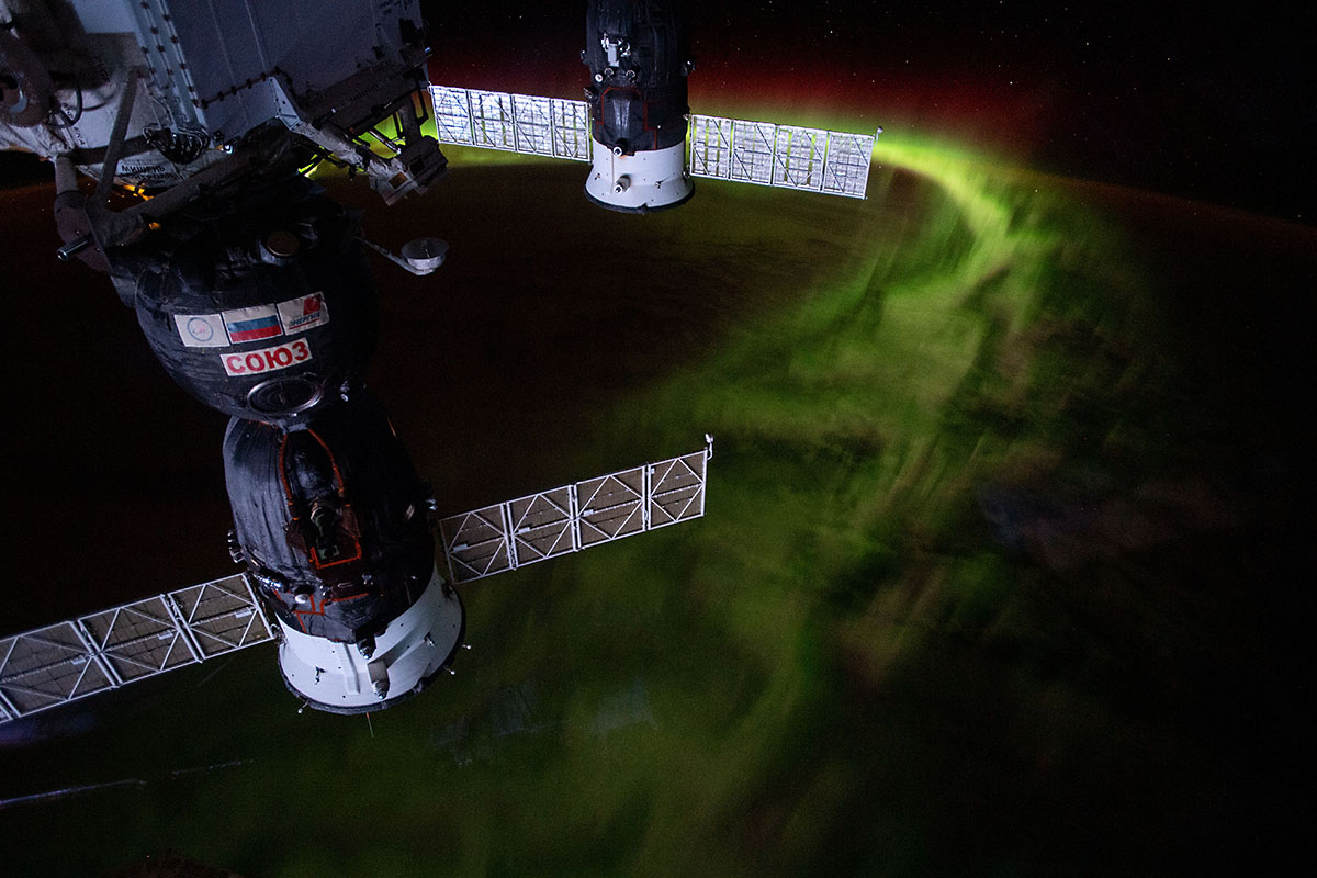 From the International Space Station's orbit 269 miles above the Indian Ocean southwest of Australia, this nighttime photograph captures the aurora australis, or