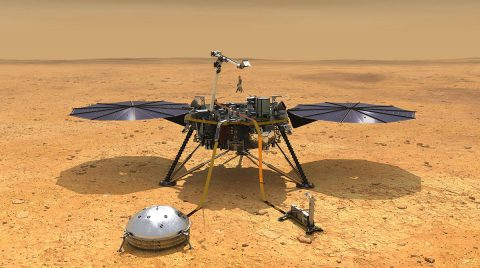This illustration shows NASA's InSight spacecraft with its instruments deployed on the Martian surface. (NASA/JPL-Caltech)