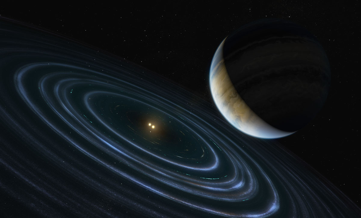 The 11-Jupiter-mass exoplanet called HD 106906 b, shown in this artist's illustration, occupies an unlikely orbit around a double star 336 light-years away. It may be offering clues to something that might be much closer to home: a hypothesized distant member of our solar system dubbed