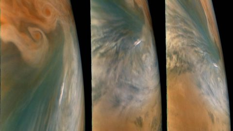 "These images from NASA's Juno mission show three views of a Jupiter ""hot spot"" - a break in Jupiter's cloud deck that provides a glimpse into the planet's deep atmosphere. The pictures were taken by the JunoCam imager during the spacecraft's 29th close flyby of the giant planet on Sept. 16, 2020. (NASA/JPL-Caltech/SwRI/MSSS. Image processing: Brian Swift © CC BY)"