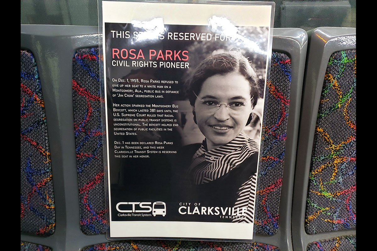A Rosa Parks poster reserves a seat in honor of the Civil Rights pioneer on each Clarksville Transit System bus this week.