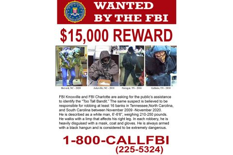 Too Tall Bandit - FBI Wanted Poster