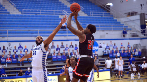 Austin Peay State University Men's Basketball senior Terry Taylor nails last second shot to give the Govs a 74-71 win over Eastern Illinois, Saturday. (APSU Sports Information)