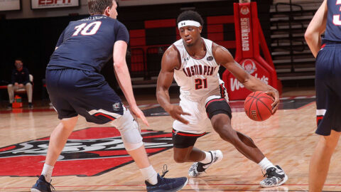 Austin Peay State University Men's Basketball senior Terry Taylor had 23 points and 12 rebounds in loss to Belmont at the Dunn Center Thursday night. (APSU Sports Information)