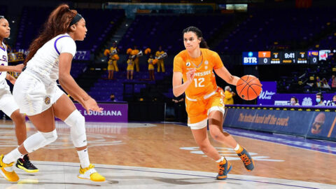 Tennessee Women's Basketball junior Rae Burrell had 18 points along with 3 rebounds in Lady Vols victory over LSU Tigers, Sunday. (UT Athletics)