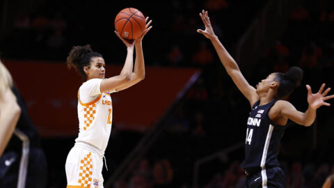 Tennessee Women's Basketball junior Rae Burrell had 18 points and 8 rebounds in Thursday night loss to UConn. (UT Athletics)