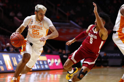 Tennessee Men's Basketball sophomore Santiago Vescovi scored 13 points and 4 rebounds in loss to Alabama Saturday. (UT Athletics)