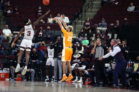 Tennessee Men's Baskestball sophomore guard Santiago Vescovi scored 23 points in Vols win over Texas A&M, Saturday. (UT Athletics)