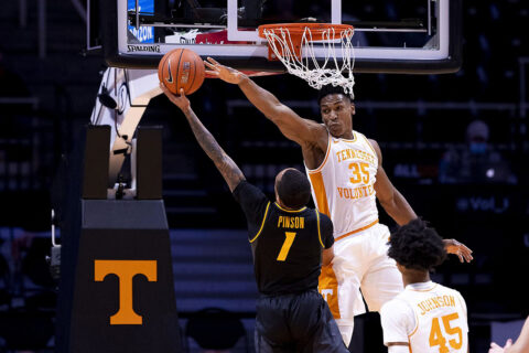 Tennessee Men's Basketball senior Yves Pons poured in 20 points and pulled down five boards in Saturday night's loss to Missouri at Thompson-Boling Arena. (UT Athletics)